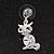 Small Clear Crystal Cute 'Owl' Stud Drop Earrings In Rhodium Plated Metal - 3cm Length - view 3