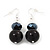 Black Bead Drop Earrings In Silver Plated Metal - 4.5cm Length