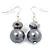 Grey Bead Drop Earrings In Silver Plated Metal - 4.5cm Length
