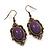 Vintage Purple Diamante Drop Earrings In Bronze Tone Metal - 5cm Length - view 2