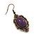 Vintage Purple Diamante Drop Earrings In Bronze Tone Metal - 5cm Length - view 3