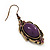 Vintage Purple Diamante Drop Earrings In Bronze Tone Metal - 5cm Length - view 4