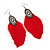 Vintage Diamante Red Feather Drop Earrings In Burn Silver Metal - 13cm Length - view 2