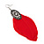 Vintage Diamante Red Feather Drop Earrings In Burn Silver Metal - 13cm Length - view 3