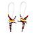 Cute Multicoloured Enamel 'Fairy' Drop Earrings In Rhodium Plated Metal - 6cm Length - view 7