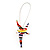 Cute Multicoloured Enamel 'Fairy' Drop Earrings In Rhodium Plated Metal - 6cm Length - view 6