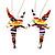 Cute Multicoloured Enamel 'Fairy' Drop Earrings In Rhodium Plated Metal - 6cm Length - view 3