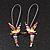 Cute Multicoloured Enamel 'Fairy' Drop Earrings In Rhodium Plated Metal - 6cm Length - view 2