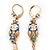 Funky Long Blue 'Owl' Feather Earrings In Gold Plating - 12cm Length - view 2