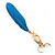 Funky Long Blue 'Owl' Feather Earrings In Gold Plating - 12cm Length - view 4