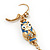 Funky Long Blue 'Owl' Feather Earrings In Gold Plating - 12cm Length - view 5