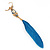 Funky Long Blue 'Owl' Feather Earrings In Gold Plating - 12cm Length - view 6