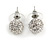 Clear Crystal Ball Stud Earrings In Silver Plated Finish - 11mm Diameter