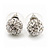 Clear Crystal Ball Stud Earrings In Silver Plated Finish - 9mm Diameter - view 3