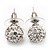 Clear Crystal Ball Stud Earrings In Silver Plated Finish - 9mm Diameter - view 6