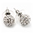 Clear Crystal Ball Stud Earrings In Silver Plated Finish - 9mm Diameter - view 4