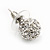 Clear Crystal Ball Stud Earrings In Silver Plated Finish - 9mm Diameter - view 5