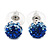 Royal Blue/Sky Blue/Clear Swarovski Crystal Ball Stud Earrings In Silver Plated Finish -10mm Diameter