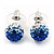 Royal Blue/Sky Blue/Clear Swarovski Crystal Ball Stud Earrings In Silver Plated Finish -10mm Diameter - view 3