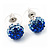 Royal Blue/Sky Blue/Clear Swarovski Crystal Ball Stud Earrings In Silver Plated Finish -10mm Diameter - view 2