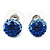 Royal Blue/Sky Blue/Clear Swarovski Crystal Ball Stud Earrings In Silver Plated Finish -10mm Diameter - view 4