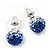 Royal Blue/Sky Blue/Clear Swarovski Crystal Ball Stud Earrings In Silver Plated Finish -10mm Diameter - view 5
