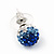 Royal Blue/Sky Blue/Clear Swarovski Crystal Ball Stud Earrings In Silver Plated Finish -10mm Diameter - view 6