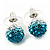 Teal/Light Blue/Clear Swarovski Crystal Ball Stud Earrings In Silver Plated Finish -10mm Diameter