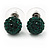 Emerald Green Swarovski Crystal Ball Stud Earrings In Silver Plated Finish - 9mm Diameter - view 6
