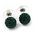 Emerald Green Swarovski Crystal Ball Stud Earrings In Silver Plated Finish - 9mm Diameter - view 7