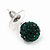 Emerald Green Swarovski Crystal Ball Stud Earrings In Silver Plated Finish - 9mm Diameter - view 3