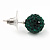 Emerald Green Swarovski Crystal Ball Stud Earrings In Silver Plated Finish - 9mm Diameter - view 4