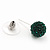 Emerald Green Swarovski Crystal Ball Stud Earrings In Silver Plated Finish - 9mm Diameter - view 5