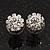 Small Clear Diamante Stud Earrings In Silver Finish - 10mm Diameter