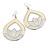 Milky-White Enamel Teardrop Hoop Earrings In Silver Finish - 8cm Length