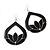 Black Enamel Teardrop Hoop Earrings In Silver Finish - 8cm Length