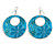 Teal Coloured Enamel Floral Round Drop Earrings In Silver Finish - 7.5cm Length - view 5