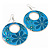 Teal Coloured Enamel Floral Round Drop Earrings In Silver Finish - 7.5cm Length - view 6