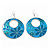 Teal Coloured Enamel Floral Round Drop Earrings In Silver Finish - 7.5cm Length - view 2