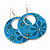 Teal Coloured Enamel Floral Round Drop Earrings In Silver Finish - 7.5cm Length - view 3