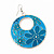 Teal Coloured Enamel Floral Round Drop Earrings In Silver Finish - 7.5cm Length - view 4