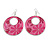 Pink Enamel Floral Round Drop Earrings In Silver Finish - 7.5cm Length - view 5