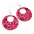 Pink Enamel Floral Round Drop Earrings In Silver Finish - 7.5cm Length - view 6