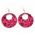 Pink Enamel Floral Round Drop Earrings In Silver Finish - 7.5cm Length - view 4