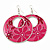 Pink Enamel Floral Round Drop Earrings In Silver Finish - 7.5cm Length - view 2
