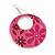 Pink Enamel Floral Round Drop Earrings In Silver Finish - 7.5cm Length - view 3