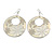 Milky-White Enamel Floral Round Drop Earrings In Silver Finish - 7.5cm Length - view 5