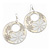 Milky-White Enamel Floral Round Drop Earrings In Silver Finish - 7.5cm Length - view 6