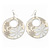 Milky-White Enamel Floral Round Drop Earrings In Silver Finish - 7.5cm Length - view 4