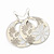 Milky-White Enamel Floral Round Drop Earrings In Silver Finish - 7.5cm Length - view 2